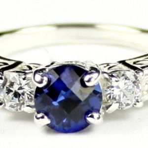 CREATED BLUE SAPPHIRE w/CZs sterling silver ring